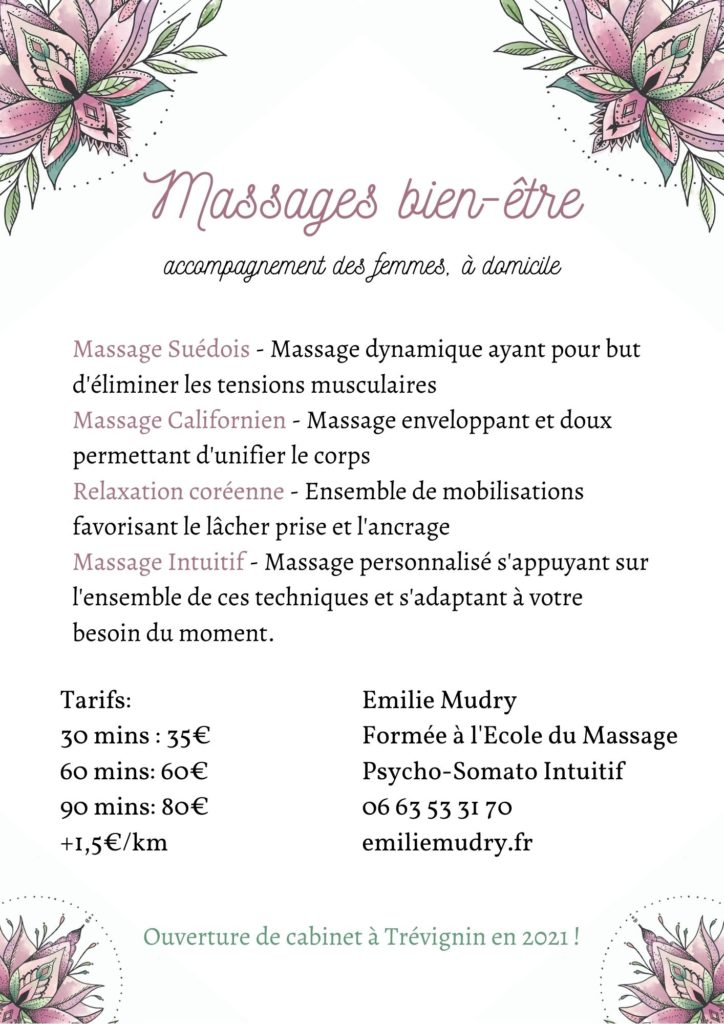 Flyer explicatif des divers massages de bien-être. Déplacement aux domicile des femmes à Aix-les-Bains et alentour. Cabinet à Trévignin en 2021.