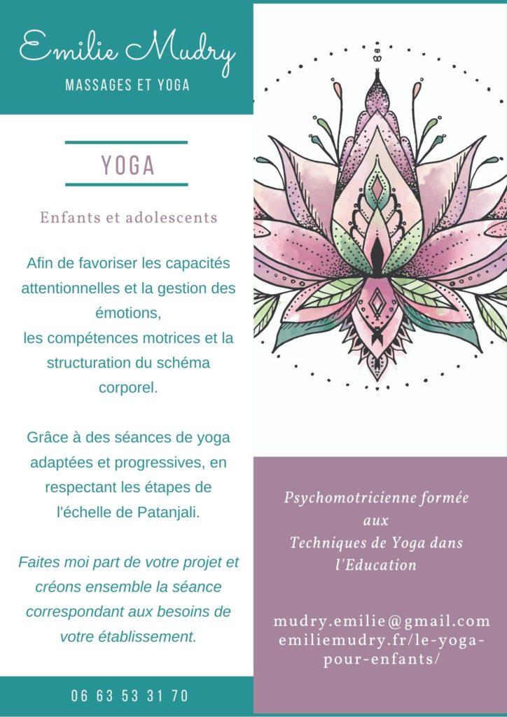 Flyer explicatif des initiations Yoga enfants dans les accueils de loisirs sur Aix-les-bains